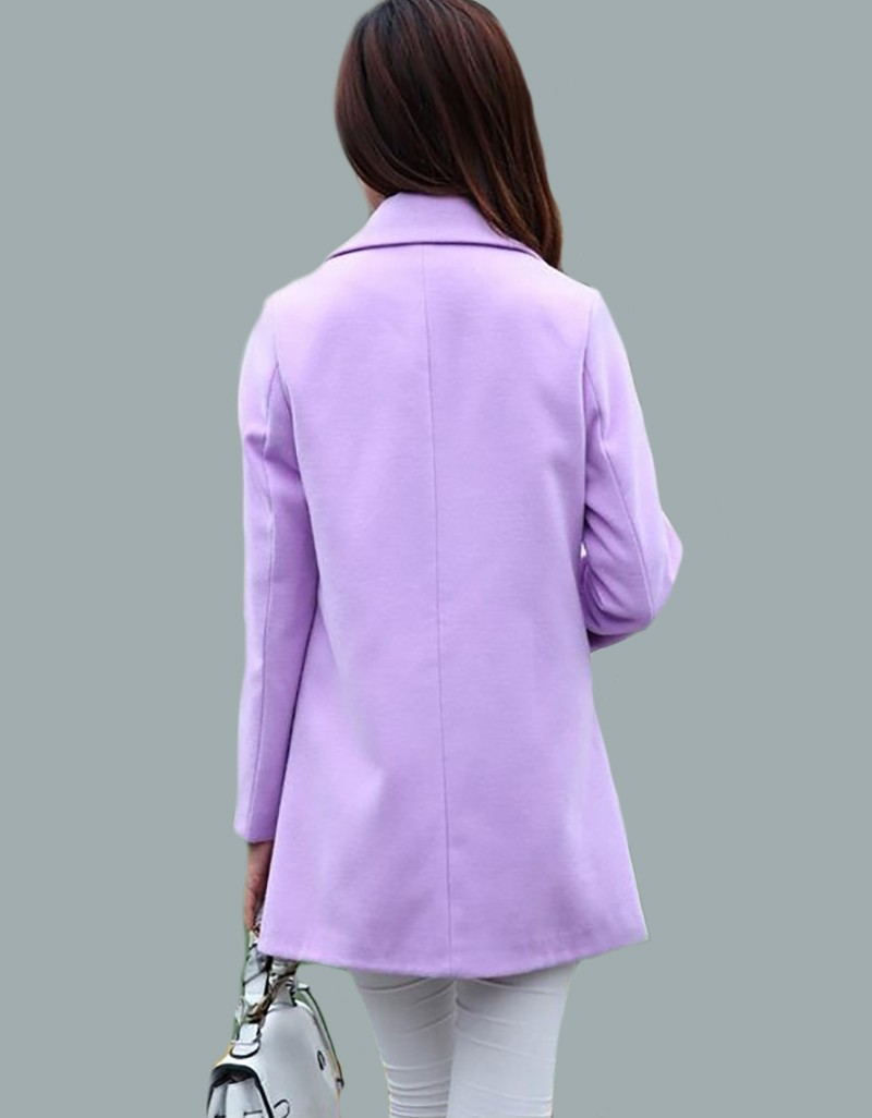 Fashion Women Turn-down Collar Single Breasted woollen cloth coat and long sections woolen coat Jacket
