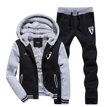 5XL Winter New Men Casual sports suit set Fleece hoodies sweatshirts and pants Male tracksuits leisure sportswear Brand-clothing(China (Mainland))