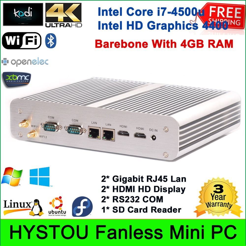 2015 Best New Fanless Thin Client Mini PC Barebone System With 4G RAM Intel Core i7-4500u Rugged Industrial Server HTPC LAN/HDMI(China (Mainland))