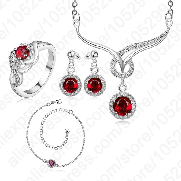 Vogue Europe Stylish Real Pure 925 Sterling Silver With Zircon Gift For Wedding Engagement Party Bridal Jewelry Sets Top Quality<br><br>Aliexpress