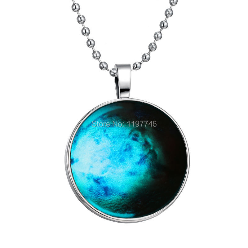 Glow in the dark Necklace glass art photo necklace Glowing Jewelry Glowing Starry Necklace 3pcs/lot Free Shipping(China (Mainland))