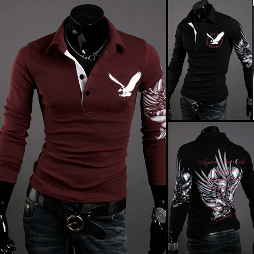 2013 new men's The European and American style Eagle tattoo's Lapel long sleeved shirt printing(China (Mainland))