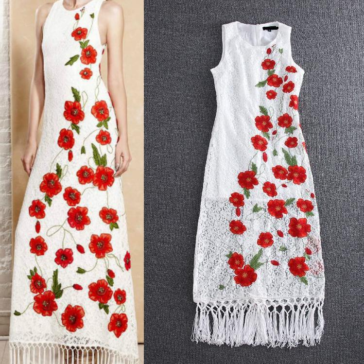 Lace Long Dress New Euro Designer Fashion 2016 Spring Summer Women Red Floral Embroidery Elegant Tassel Patchwork White Dresses(China (Mainland))