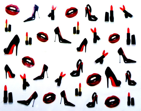 Water Transfer Nail Art Stickers Decal Sexy Mouth Lipsticks Black High-heeled Shoes Design Foils Stamping Tools(China (Mainland))