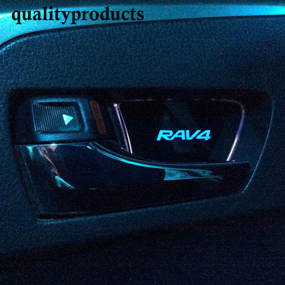New 4 pieces Auto Accessories Toyota RAV4 interior door handles bowl light led lamp car styling for decoration(China (Mainland))