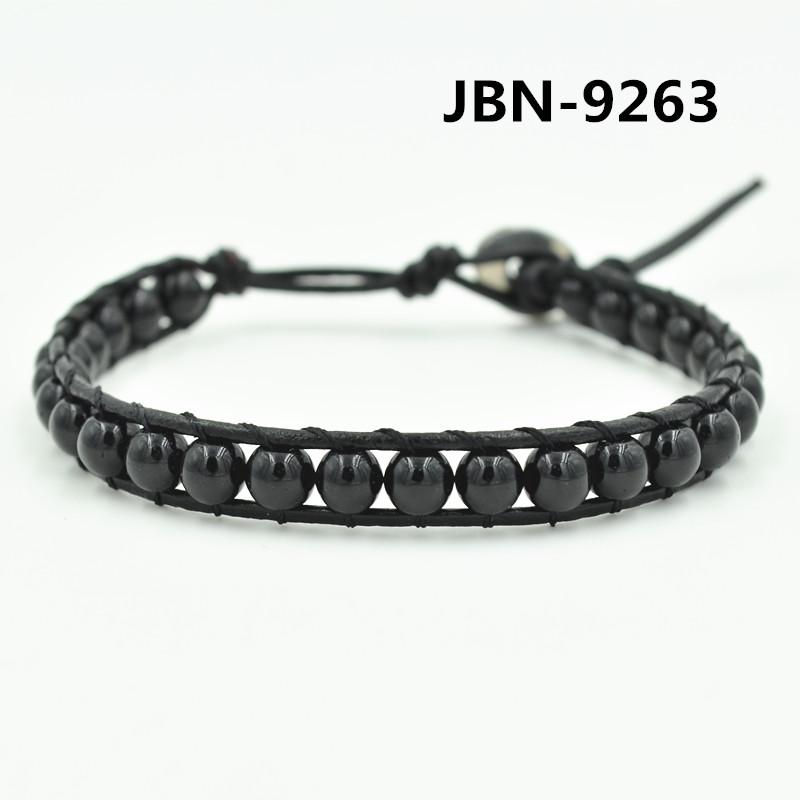 Handmade Jewelry bijoux Unisex Girls Woman Leather Bracelet Wristband black stone bead leather bracelet for men JBN-9263(China (Mainland))