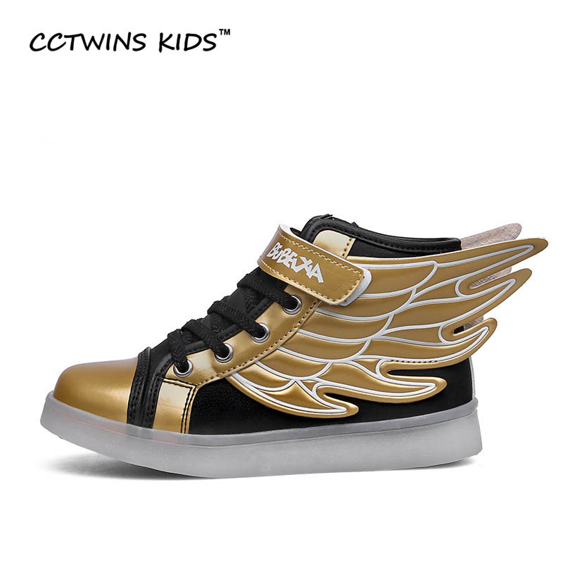 CCTWINS KIDS spring autumn children PU leather shoe girl fashion LED shoes boy Wing sneakers kids sports shoes running shoe F354(China (Mainland))