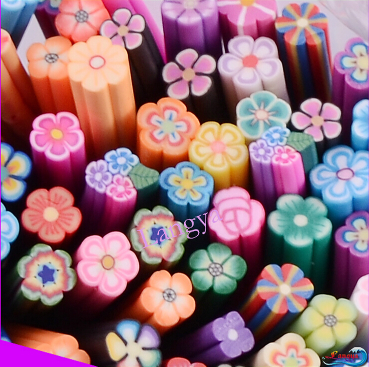 Mix Design 100 pcs Canes Rad Fimo Decorate Clay Fruit Smile flower Cutted Blade 3D Nail Art Sticker(Hong Kong)