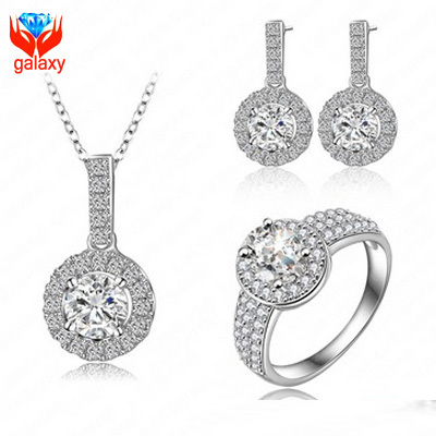 Elegant 18K White Gold Plated Bridal Jewelry Sets Top Quality CZ Diamond Wedding Necklace Earrings Ring Jewelry Sets Women ZS26