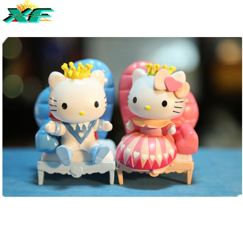 2016 Hello Kitty PVC Dolls Princess Toys Sets Couple Gift Mini Figurine For Boys Girls Valentine's Day Gift(China (Mainland))