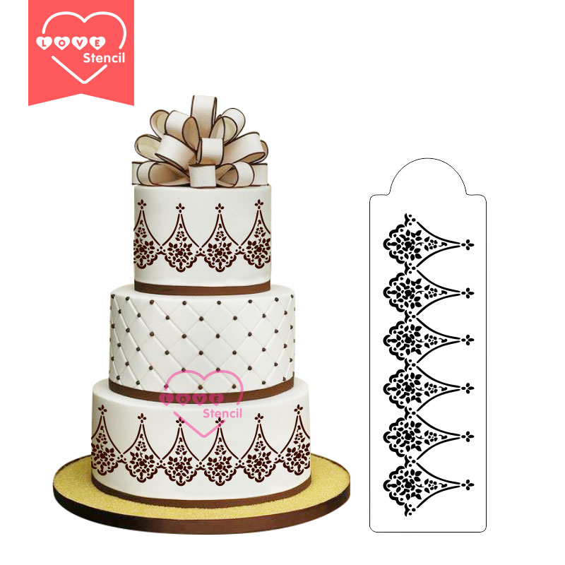Alencon Lace Companion Cake Stencil Sides Wedding Decoration Fondant Cake Stencils Kit for Christmas Party Baking Tools ST-196(China (Mainland))