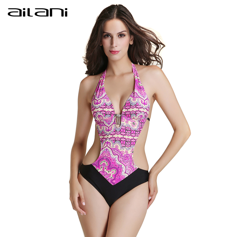 New Design One Piece Swimsuit Women 2016 Hot Sexy Female Strappy Halter Swimwear Top Summer Print Bathing Suit For Ladies AL186(China (Mainland))