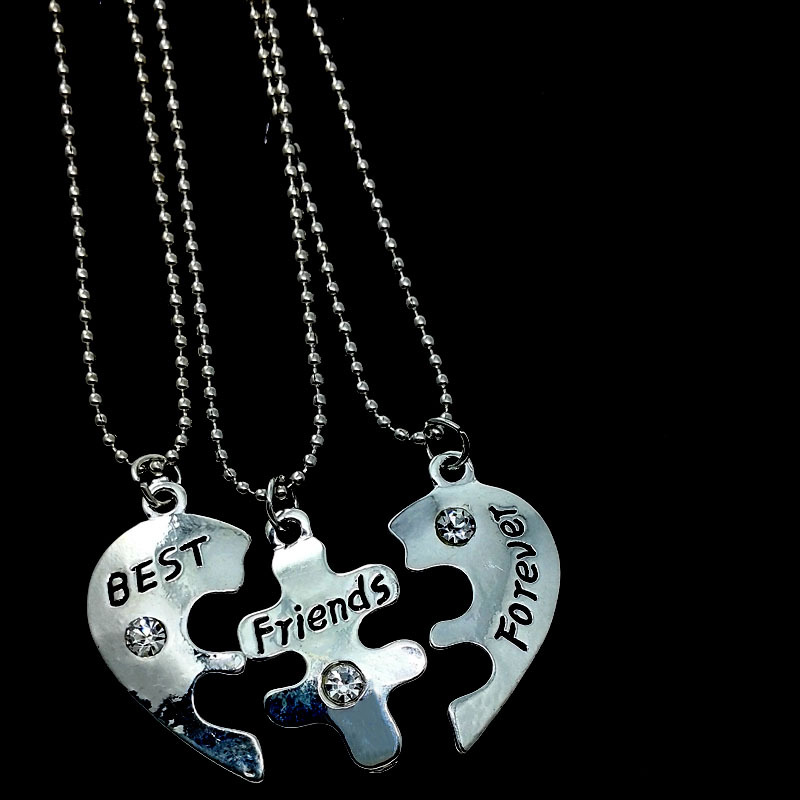 3 Pcs/set Women Lady Girl Slivery Broken Heart Pendant Best Friends Forever Necklaces Fashion Jewelry Gift vintage accessories