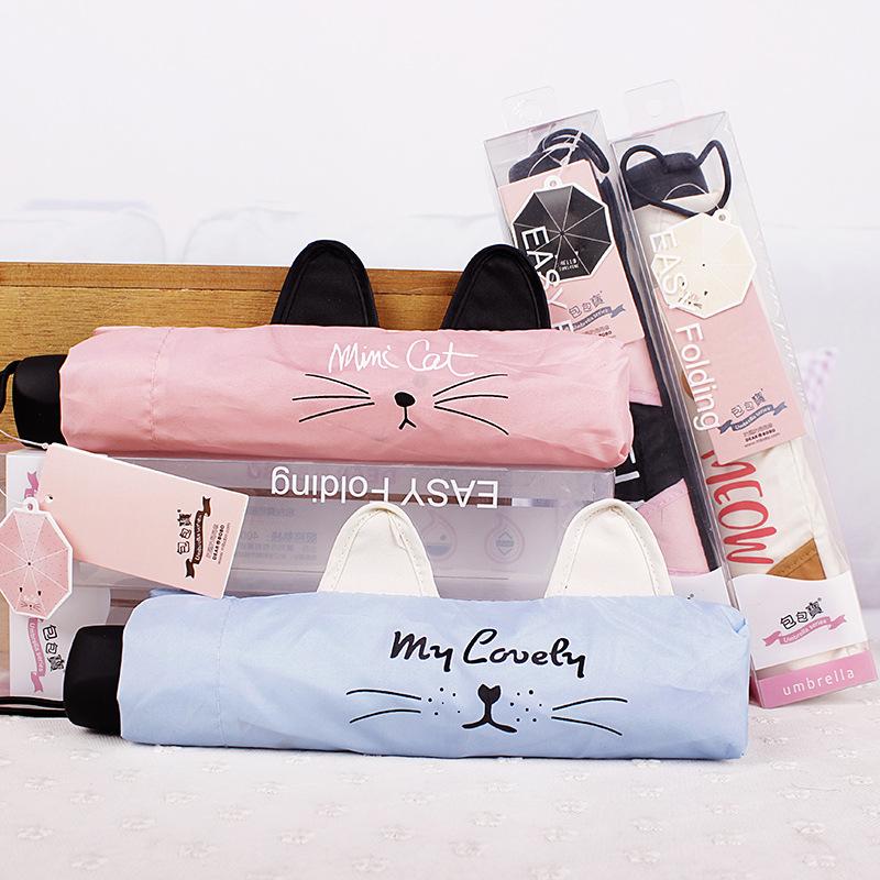 Simanfei Cat face New Creative Three Folding Umbrella Wholesale Super Light Small Foldable Pockets Women Kids Umbrellas Rain(China (Mainland))