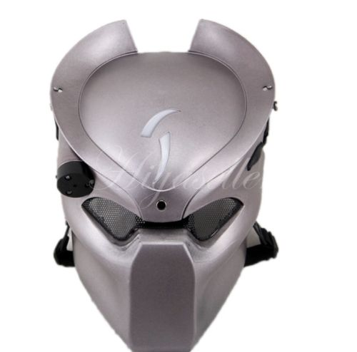 Free Shipping Silver Alien Airsoft Paintball CS War Game Full Face Protective Led Light Skull Mask 2015 New Arrival Promotion(China (Mainland))