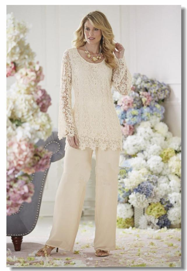 Elegant lace beige chiffon two piece pant suits mother of for Plus size beige wedding dresses