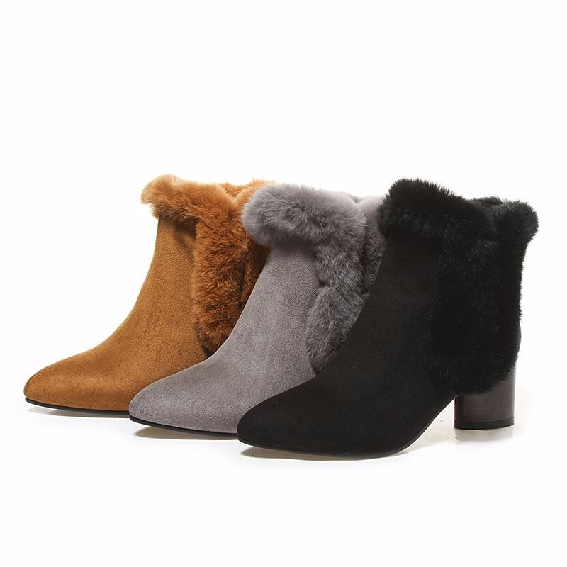 Big Size 33-44 2016 Zip Fur Charm Ankle Boots for Women Shoes Pointed Toe Fall Winter Boots Thick Heels Flock Female Footwear