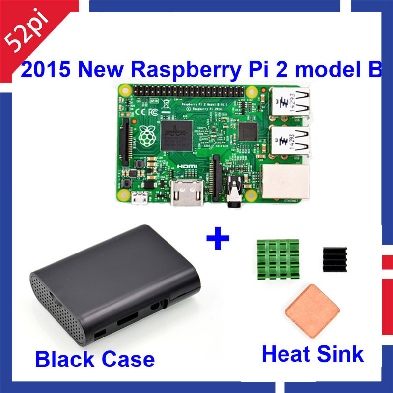 In Stock Raspberry Pi 2 Model B BCM2836 1GB RAM 6 times faster than Raspberry PI Model B plus, with Black Case and 3pcs Heatsink(China (Mainland))