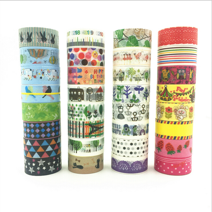 Length 250CM Hot 2015 Cute Kawaii Cartoon DIY Sticky Sticker Decorative Scotch Adhesive tape Wholesale and Retails Free Shipping(China (Mainland))