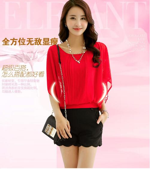 2015 new spring summer lace chiffon blouse casual / vestidos was thin big yards female crochet round neck chiffon shirt(China (Mainland))