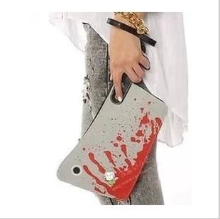 AB381 VIDEO Bold Bloody Cleaver Clutch Purse Punk Novel kitchen knife Shape designer BAG multifunctional Wristlet free shipping