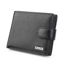 Buy Black Litchi Pattern Real Genuine Leather Wallets Men ID Documents Credit Card Holder Purses Portomonee Portefeuille Carteras for $18.74 in AliExpress store