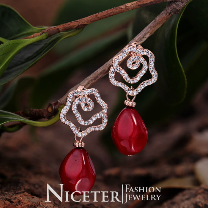 NICETER 18K Rose Gold Flower Red Coral and White Pearl Drop Earrings For Women Wedding Accessories Elegant Style Pendientes(China (Mainland))