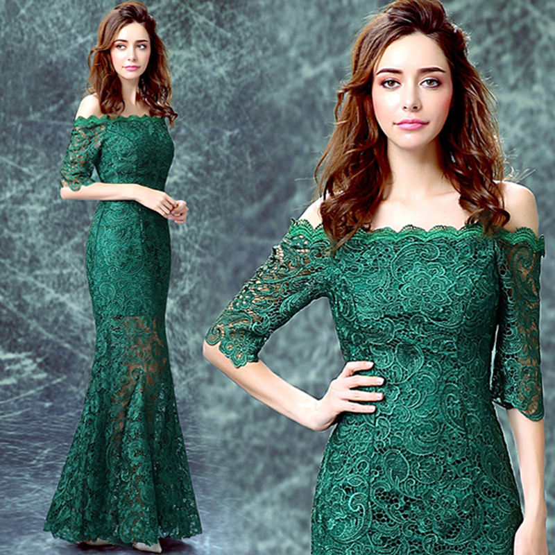 zkc uncle ! new year fashion Week elegant green v neck Floor-length trumpet long dress Prom Dresses 2016.0507.ty.hd - Store store