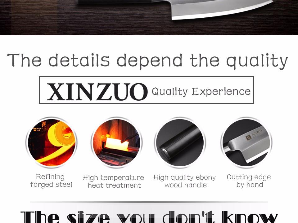 Buy XINZUO 7 inch deba knife with Scabbard Germany steel sashimi knife kitchen knives One-sided chef knife Ebony handle free shiping cheap
