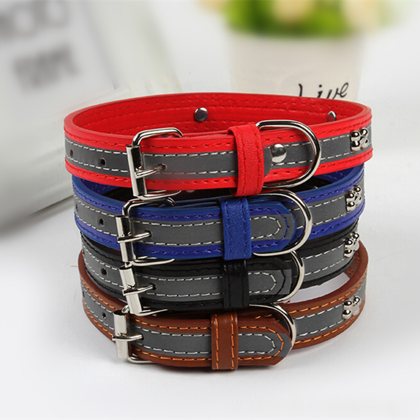 Promotion Pet Products Dog Collar Leather Dog Collars With Reflective For Chihuahua Puppy Cats Collars(China (Mainland))