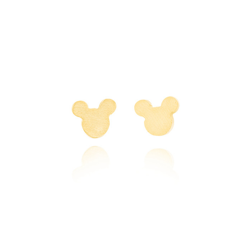 18K Gold Plated Mouse Cartoon Minnie Animals Women Earrings Stainless Steel Silver Kids Earrings Boucle Oreille Bijoux Femme(China (Mainland))