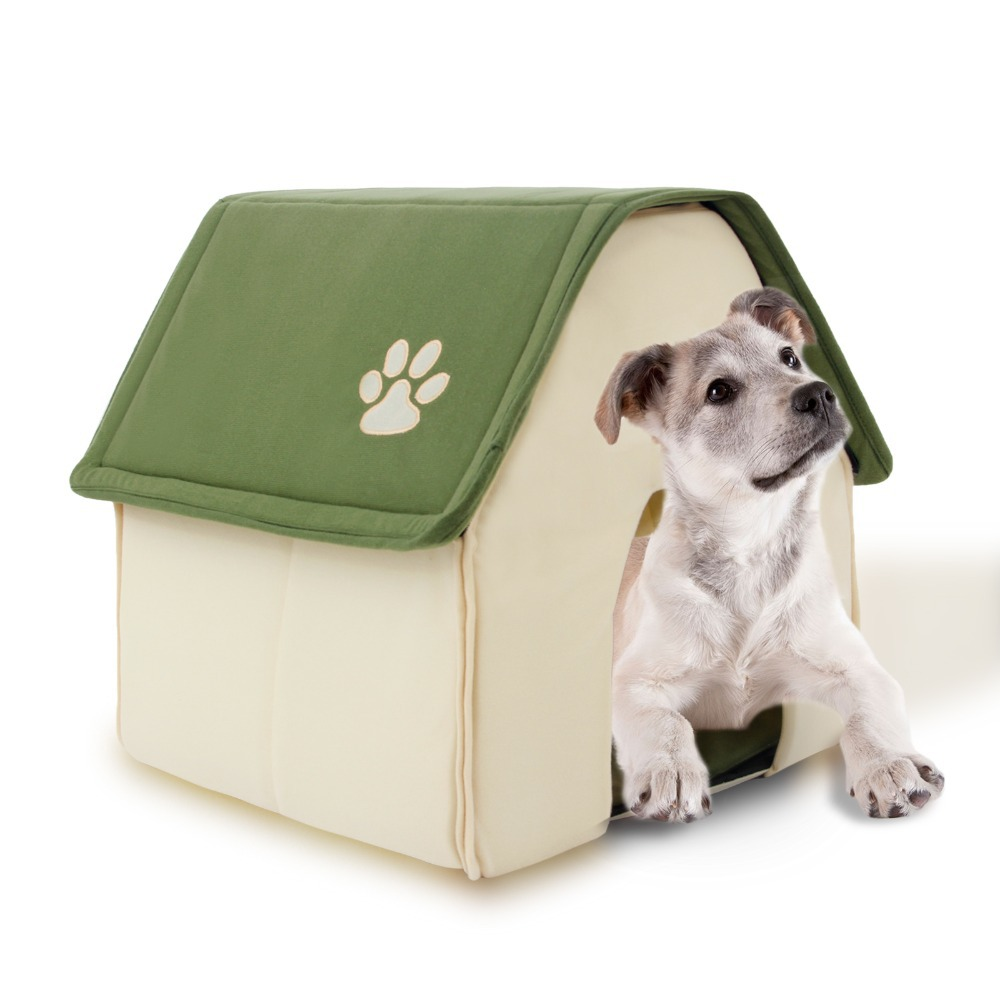 2016 New Arrival Fodable Dog House Soft Dog Bed Daily Products For Pets Cats House Dogs Home Shape Furnature Pet House Red Green(China (Mainland))