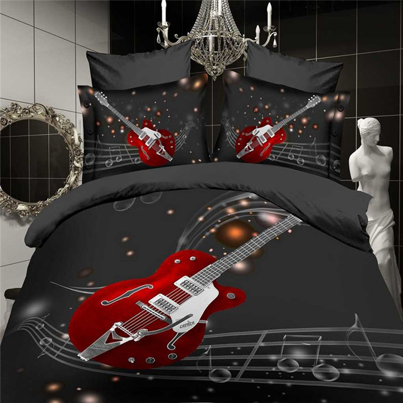 Luxury 3d bedding set 4pcs black white red music guitar bedsheet bed set duvet quilt cover queen king size comforter linen ups(China (Mainland))