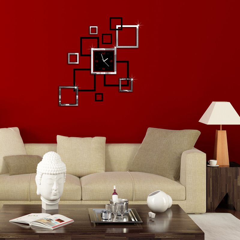 2015 living room new wall clock 3d diy clocks home decoration watch horloge murale quartz acrylic mirror stickers free shipping(China (Mainland))