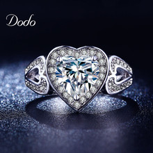 Exquisite Wedding Engagement rings for women Gold plated jewelry luxury heart shape rings Accessories bijoux midi ring DR193
