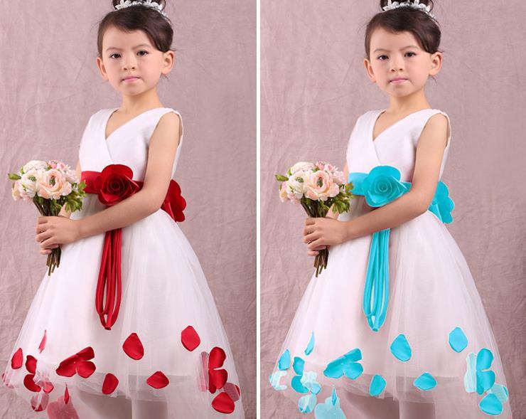 2015 summer new Korean fashion girls dress mesh gauze petals Retail children dresses(China (Mainland))