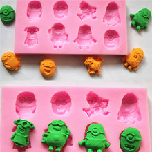 DIY Minions Silicone Mold Fondant Soap Chocolate Sugarcraft Molds Moldes Baking Tools for Cakes Fondant Cutter  for Kitchen(China (Mainland))
