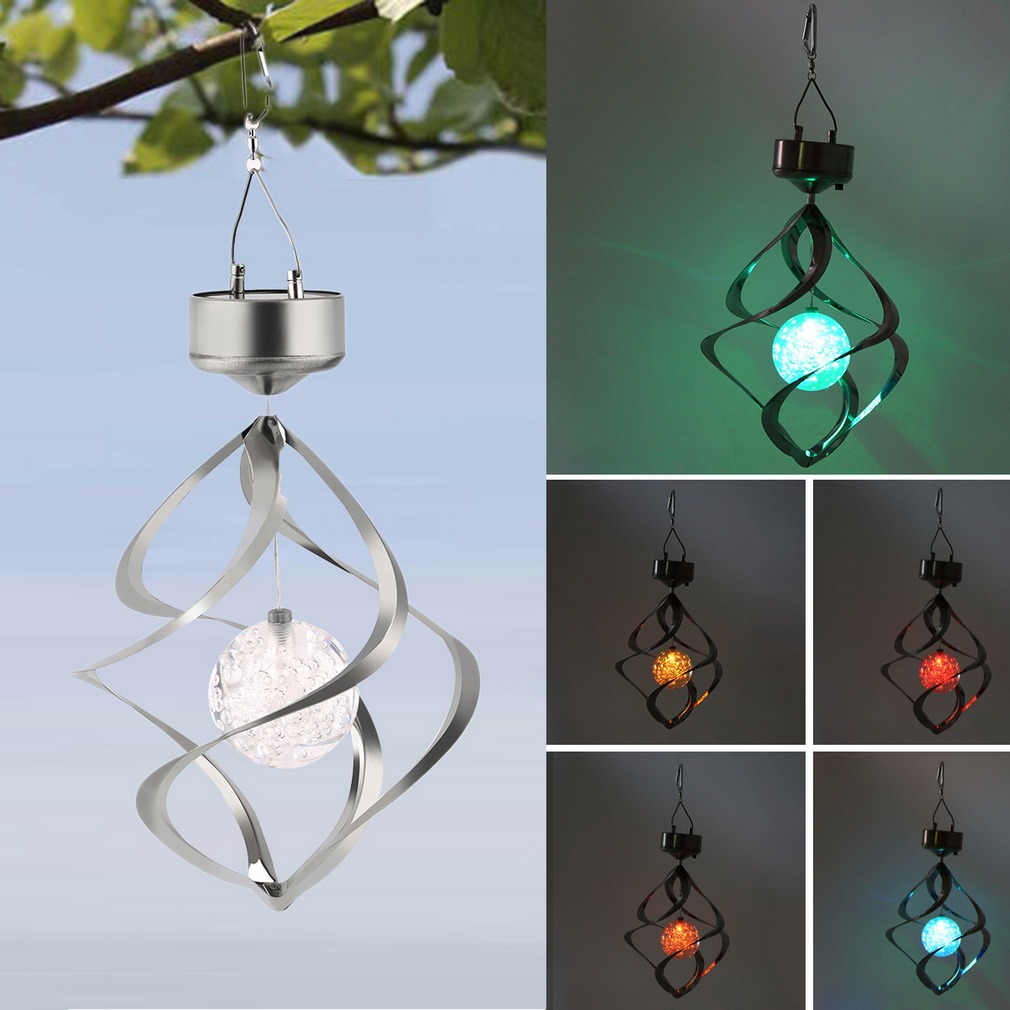 2016 New Color Changing Solar Powered LED Wind Chimes Wind Spinner Outdoor Hanging Spiral Garden Light Courtyard Decoration(China (Mainland))