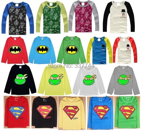 new 2015 spring children's clothing cartoon robot baby child boys girls basic shirt long-sleeve T-shirts 100% Cotton()