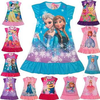 2014 New Girl dress Cartoon Short sleeve dresses  Princess Multicolor girls nightdress 40 pcs lot