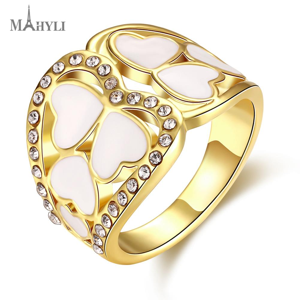 MAHYLI Vintage Wedding Rings For Women 18K Gold Plated Stainless Steel opal Crystal heart Cubic Zirconia USA Size(China (Mainland))