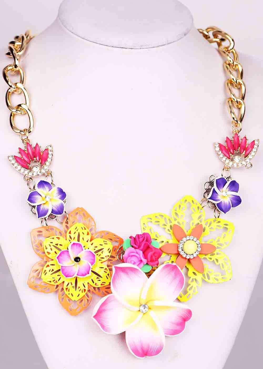 Fashion Handmade Woman Flower Rhinestone Bohemia StyleBib Statement Women Choker Brand Necklaces Pendants - YaYi Jewelry store