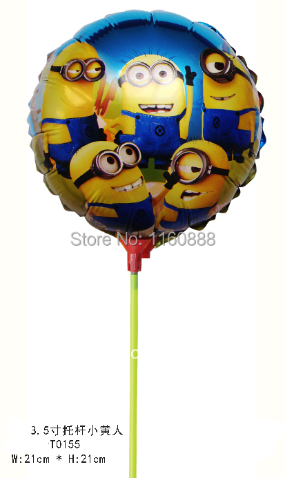 wholesale 8.5 inch little yellow man balloon with stick Despicable Me aluminum foil balloon for birthday party helium balloon<br><br>Aliexpress
