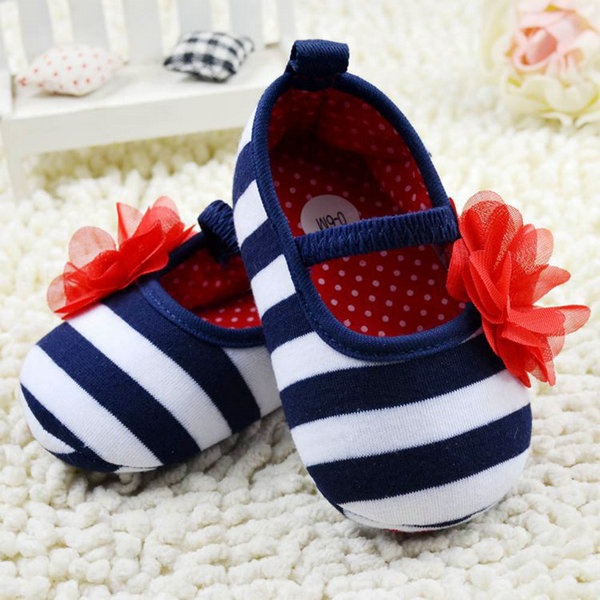 Infant Toddler Stripe First Walkers Flower Crib Shoes Soft Sole Kid Girls Baby Shoes Prewalker  For Freeshipping