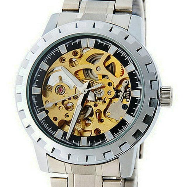 2015 горячая распродажа выдолбите автоматические механические часы-скелетоны стальной браслет авто мужские наручные часы бренда прямая поставка Relogio Masculino