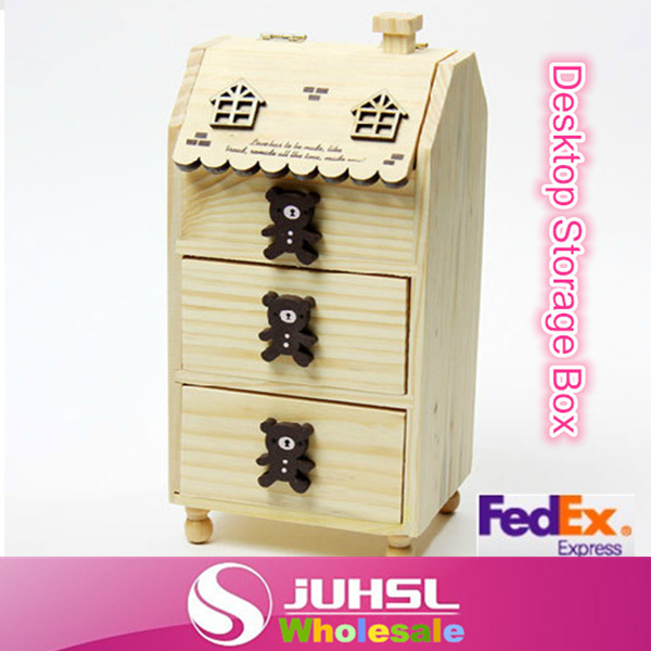 Free FedEx,Cubs three drawer jewelry box wood hut Desktop Storage Box,Solid wood small box desktop boxes, X10(China (Mainland))