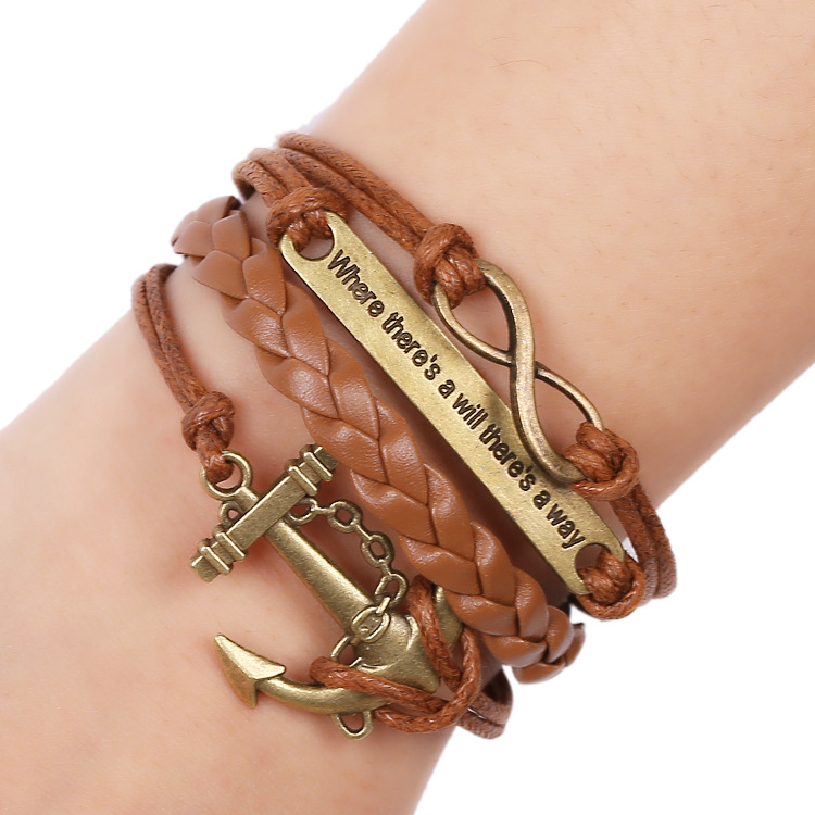 Bbla Wholesale Jewelry Anchor Rudder Eight Composite Multilayer Fashion Style Europe New Braided
