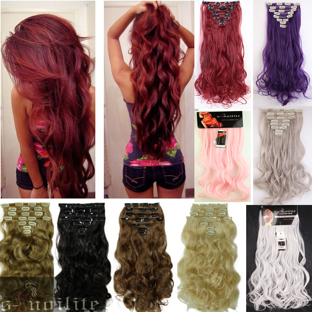 50Colors Long 24 INCHES Curly/Wavy 8PIECE/SET Real Thick 170g Clip in Full Head Hair Extensions Extentions human New Hair Style(China (Mainland))