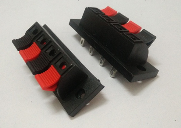 Wholesale 500pcs 4 PIN PUSH Red and Black Spring Push Type Speaker Cable wire Loudspeaker Audio Terminal Board Connector -wp-4-1(China (Mainland))