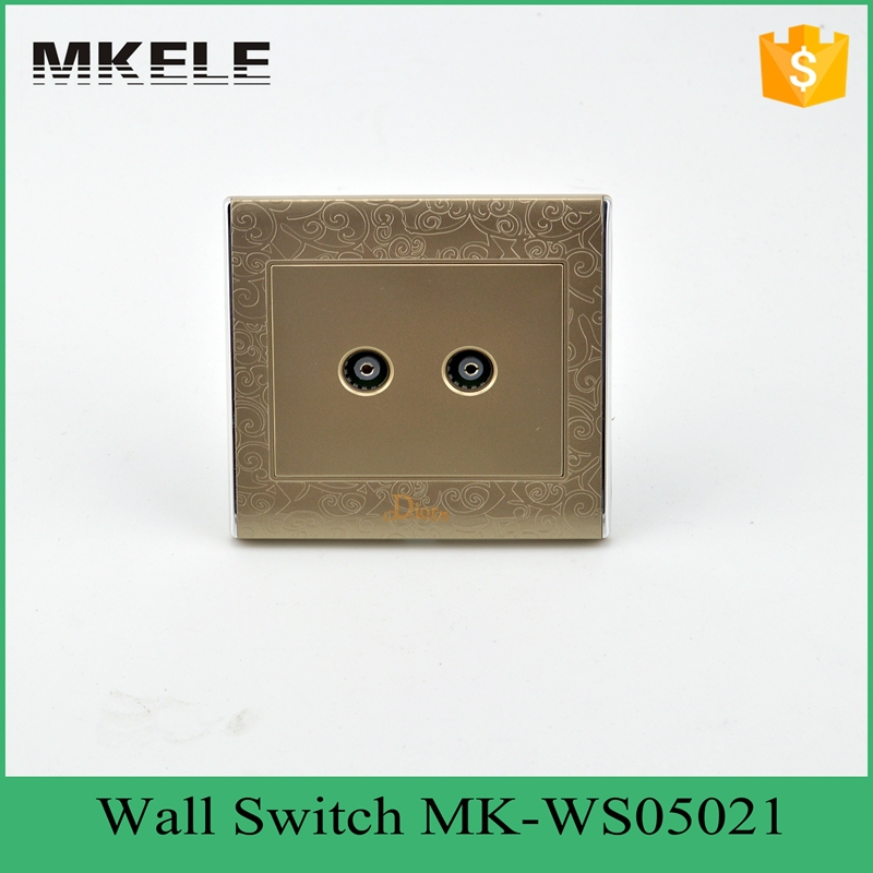 MK-WS05021 Quality guarantee safety decorative OEM 2 TV socket wall switch, two gang tv jack socket for hotel office use(China (Mainland))